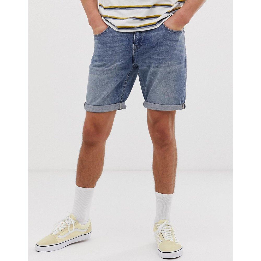 Short en jean slim à délavage moyen - ASOS DESIGN - Modalova