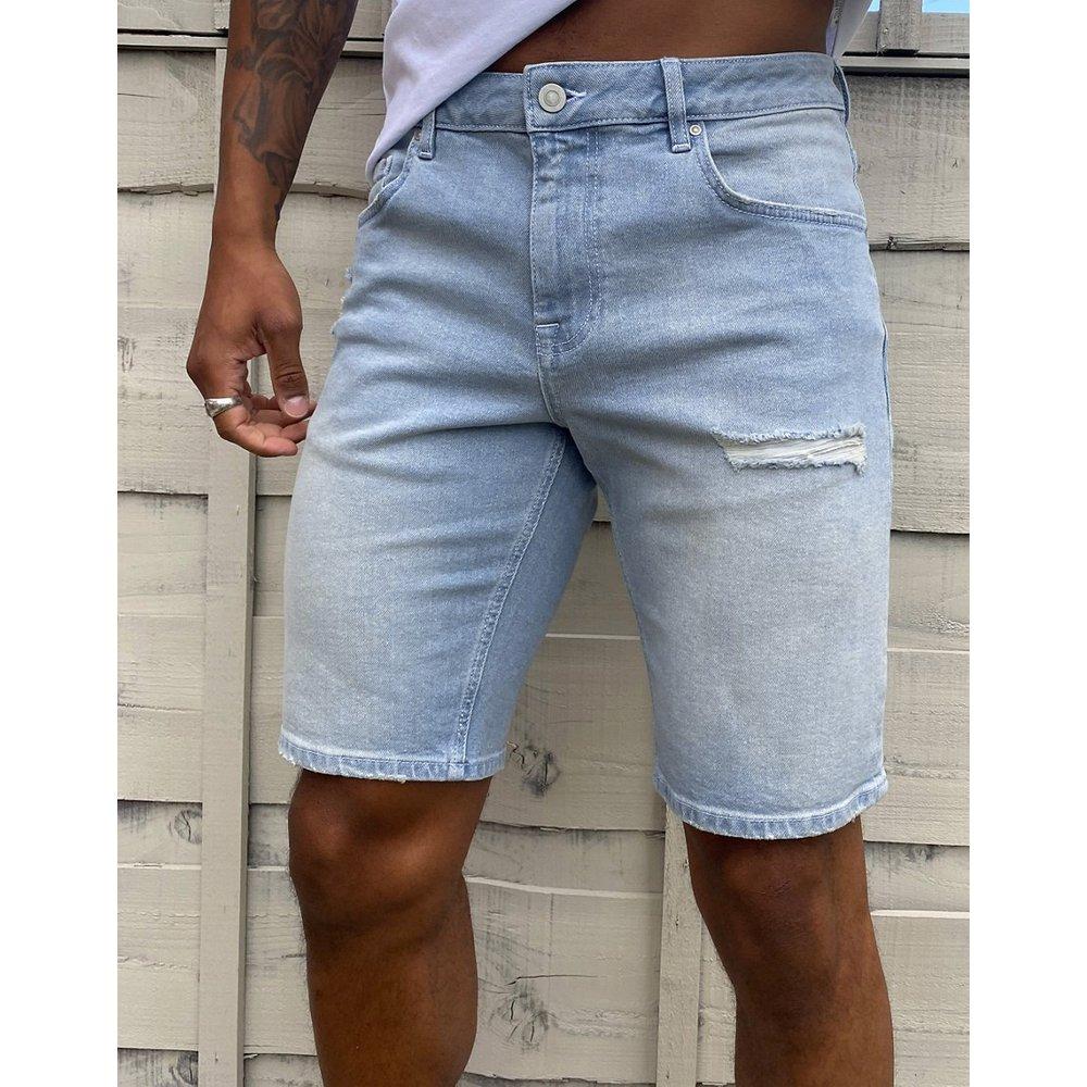 Short en jean slim déchiré - délavé clair - ASOS DESIGN - Modalova