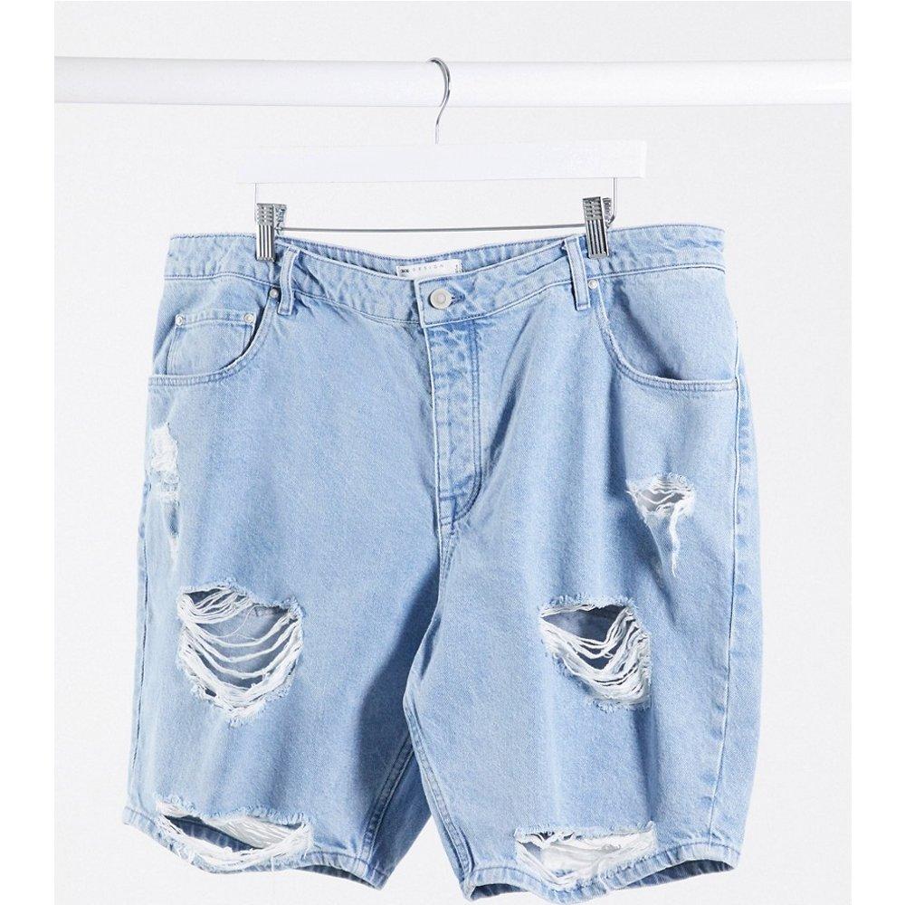Short slim en jean déchiré - Délavage clair - ASOS DESIGN - Modalova