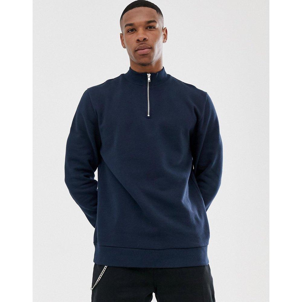 Sweat-shirt à demi-fermeture éclair - Bleu marine - ASOS DESIGN - Modalova