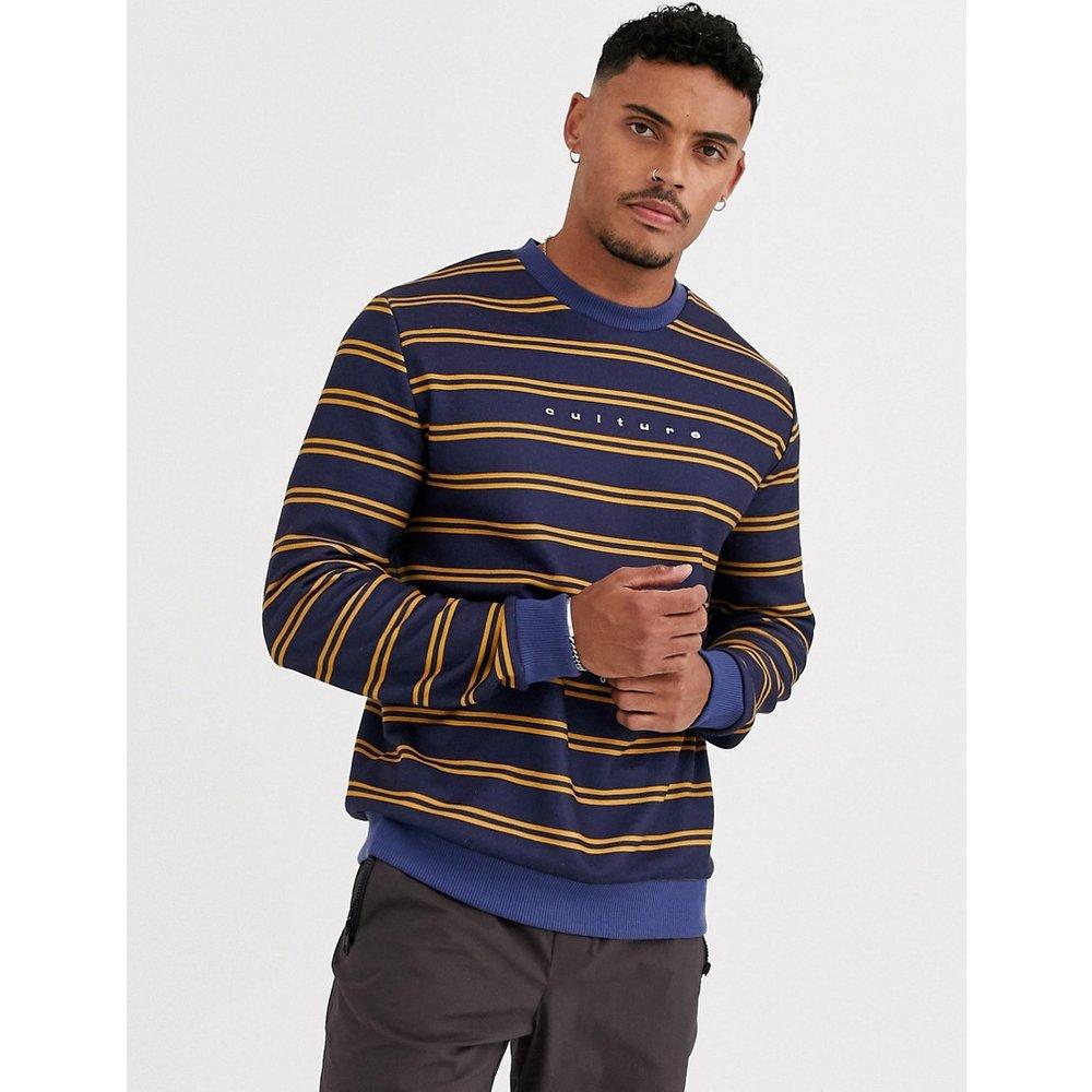 Sweat-shirt à rayures jaunes - Bleu marine - ASOS DESIGN - Modalova