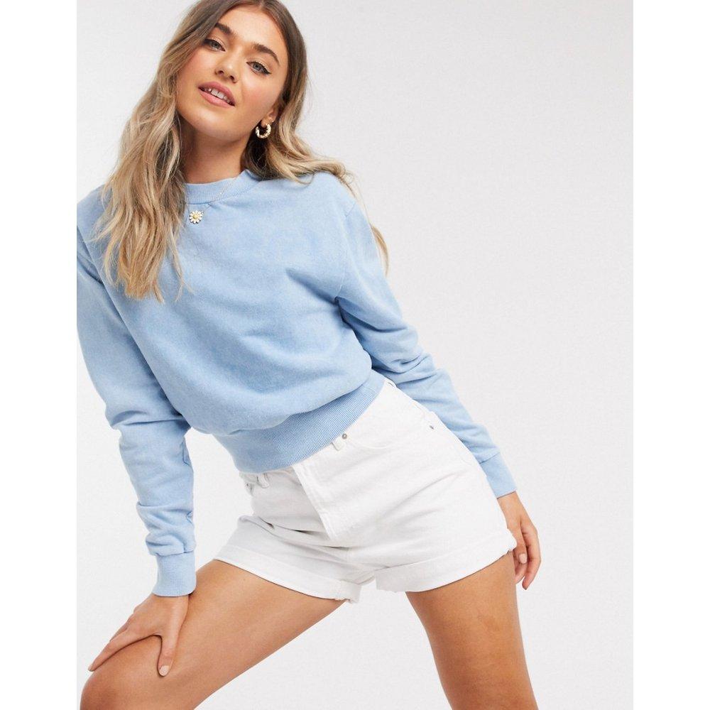Sweat-shirt court délavé avec bordure côtelée chunky - ASOS DESIGN - Modalova