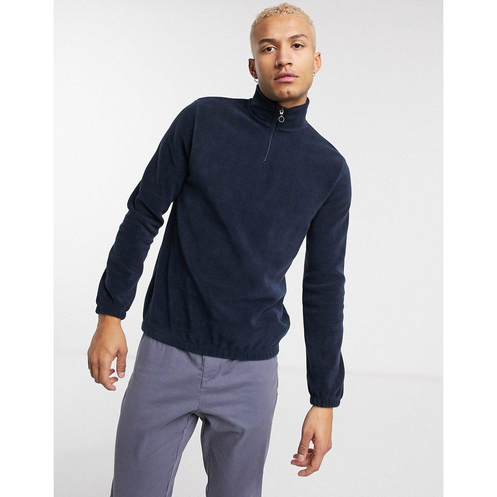 Sweat-shirt en polaire à col zippé - Bleu marine - ASOS DESIGN - Modalova