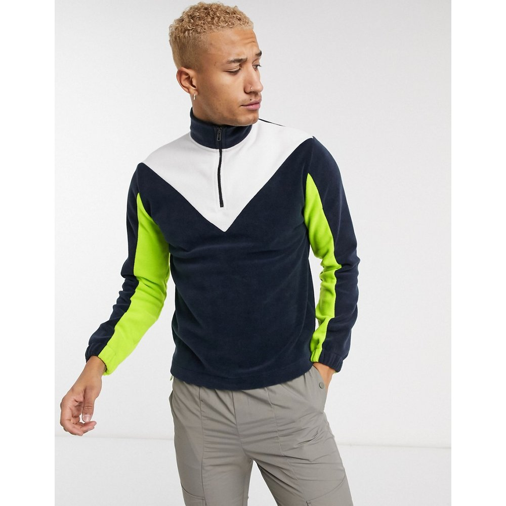Sweat-shirt en polaire avec empiècements color block fluo - ASOS DESIGN - Modalova