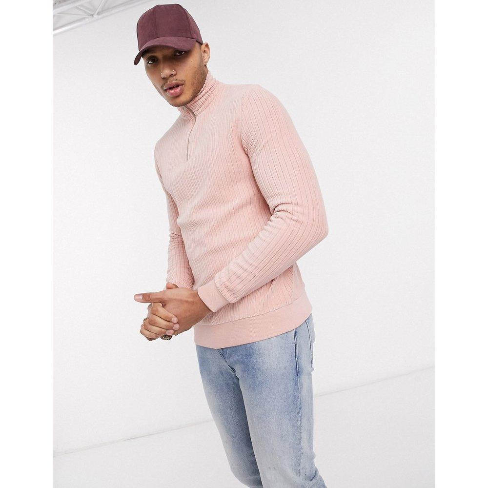 Sweat-shirt en velours côtelé avec col zippé - ASOS DESIGN - Modalova