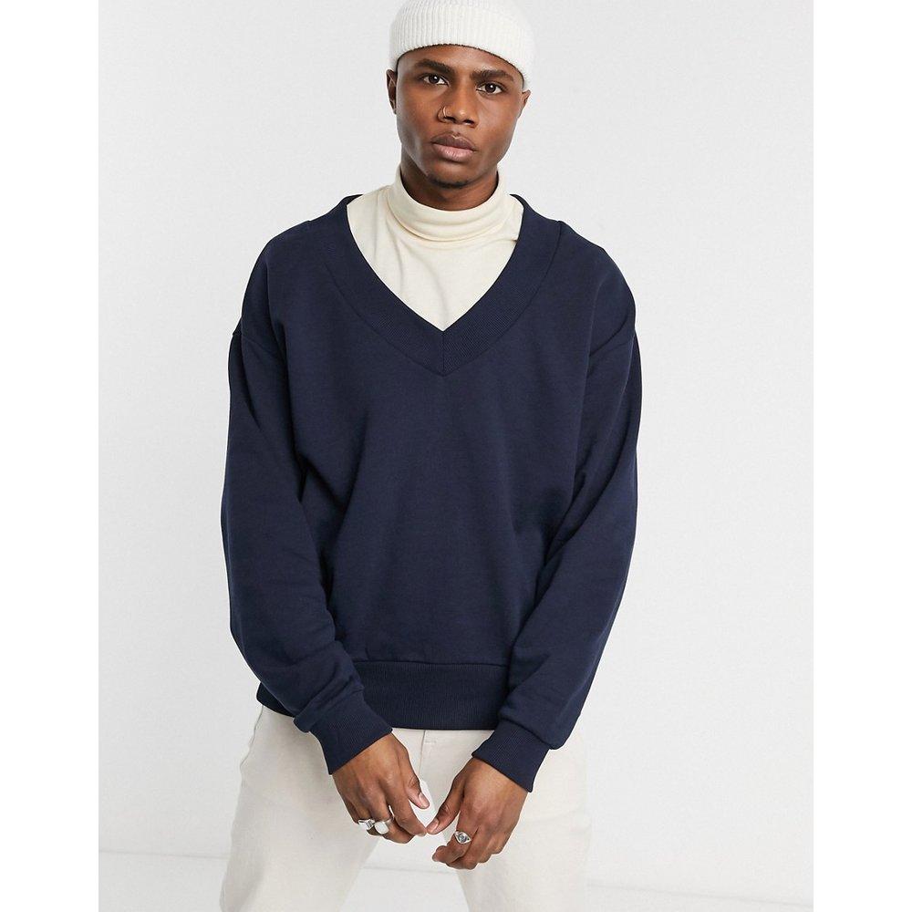 Sweat-shirt oversize à col V profond - Bleu marine - ASOS DESIGN - Modalova