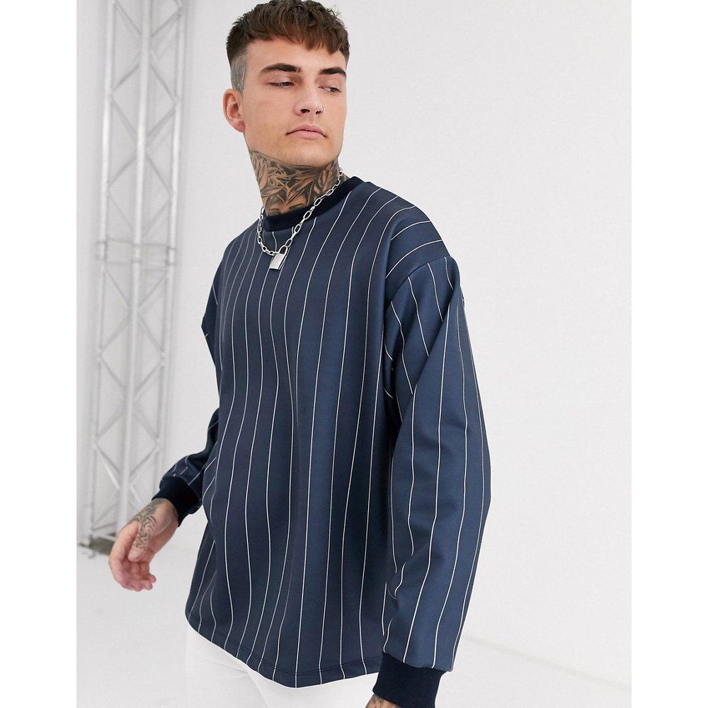 Sweat-shirt oversize à rayures fines - Bleu marine - ASOS DESIGN - Modalova