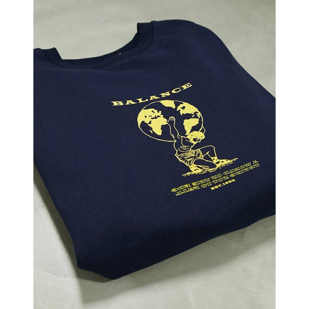 Sweat-shirt oversize avec imprimé globe graphique - Bleu marine - ASOS DESIGN - Modalova