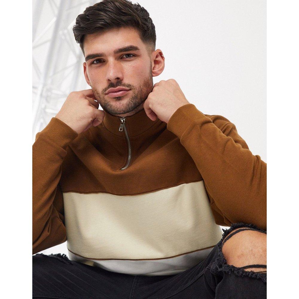 Sweat-shirt oversize color block à demi-fermeture éclair - ASOS DESIGN - Modalova