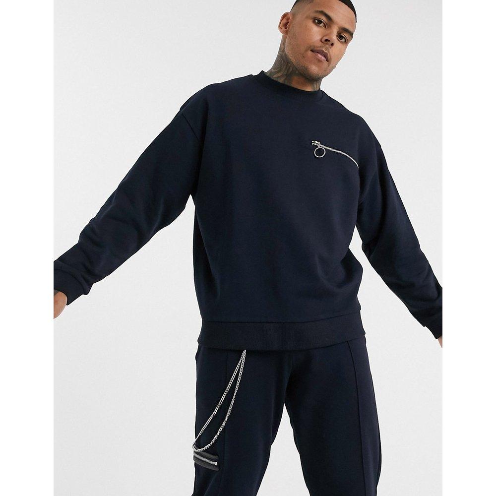 Sweat-shirt oversize zippé avec chaîne (ensemble) - Bleu marine - ASOS DESIGN - Modalova