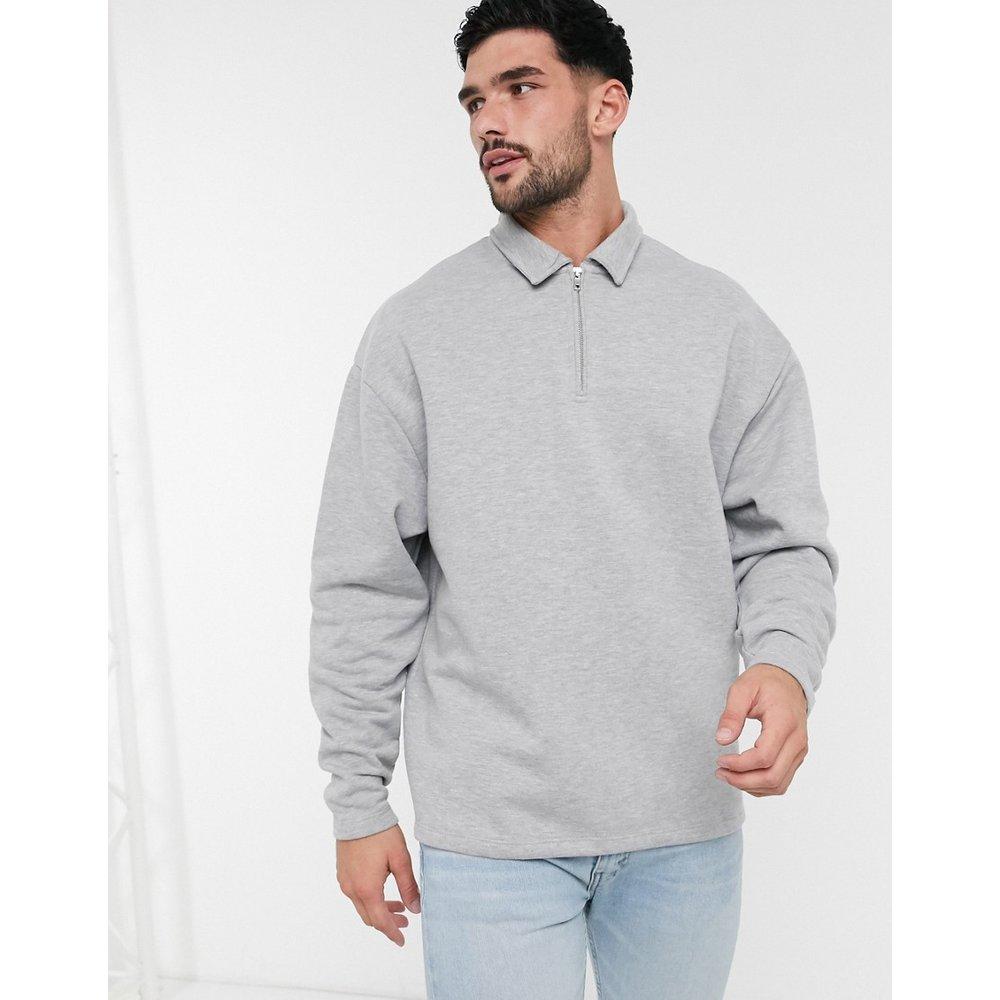 Sweat-shirt oversizeavec col polo - chiné - ASOS DESIGN - Modalova
