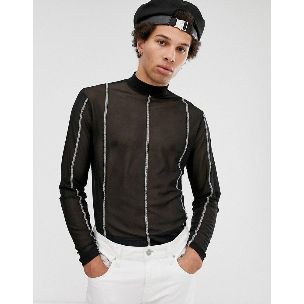 T-shirt à manches longues avec col roulé en tulle et surpiqûres contrastantes - ASOS DESIGN - Modalova