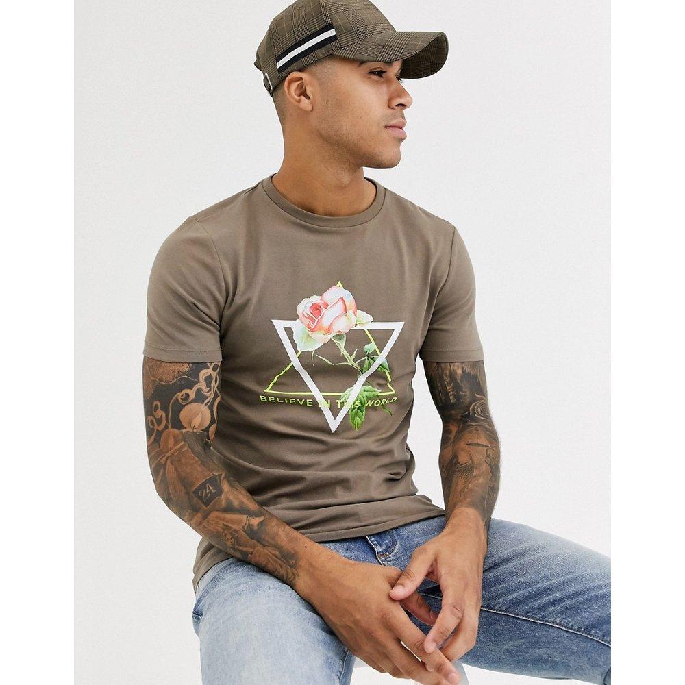 T-shirt ajusté à imprimé roses et inscription fluo - ASOS DESIGN - Modalova