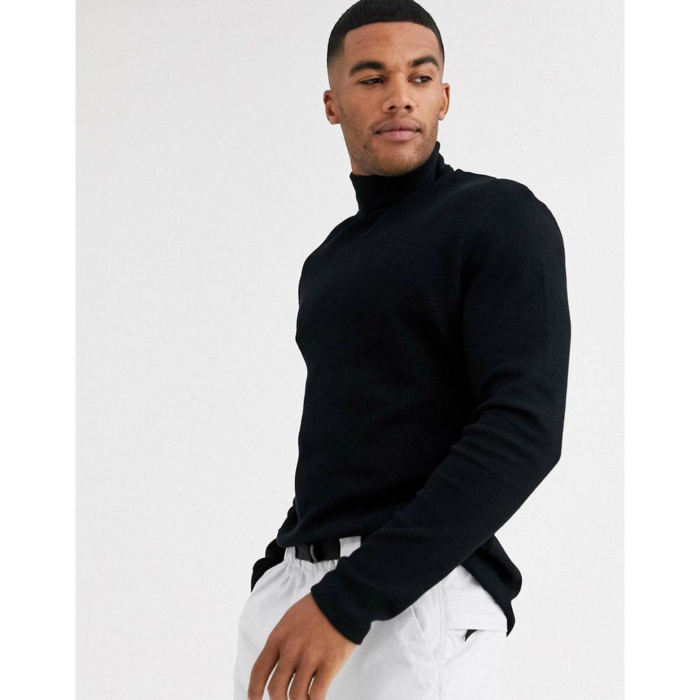 T-shirt col roulé à manches longues en tissu gaufré - ASOS DESIGN - Modalova