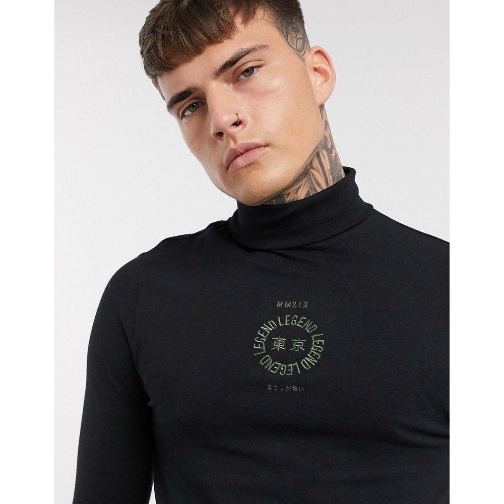 T-shirt col roulé ajusté à manches longues en coton biologique avec broderie contrastante sur le devant - ASOS DESIGN - Modalova