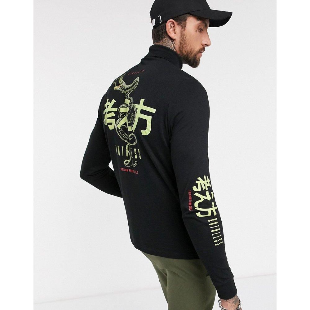 T-shirt en coton bio à col roulé et manches longues avec gros imprimé au dos - ASOS DESIGN - Modalova