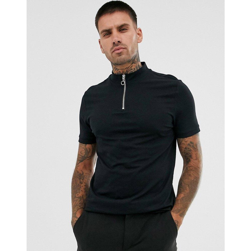 T-shirt en coton biologique avec col roulé zippé - ASOS DESIGN - Modalova