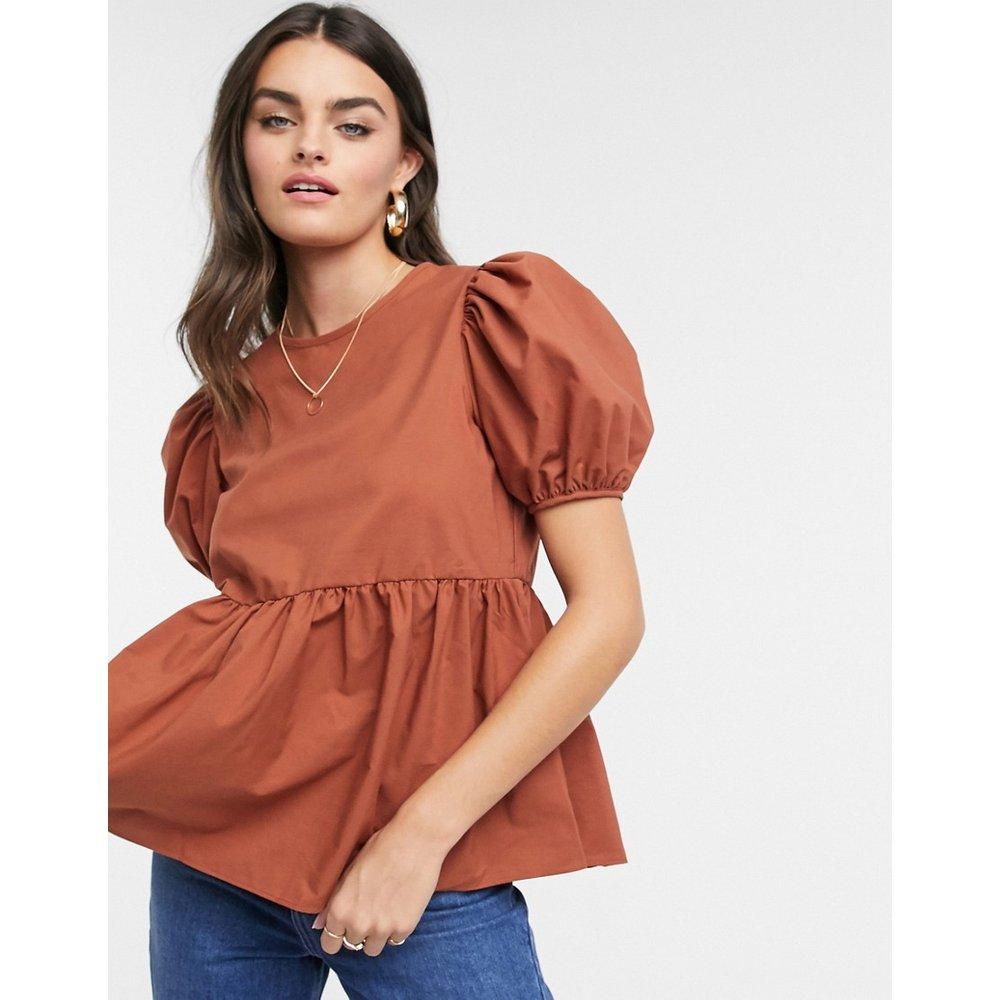 T-shirt en coton smocké à manches bouffantes - Rouille - ASOS DESIGN - Modalova