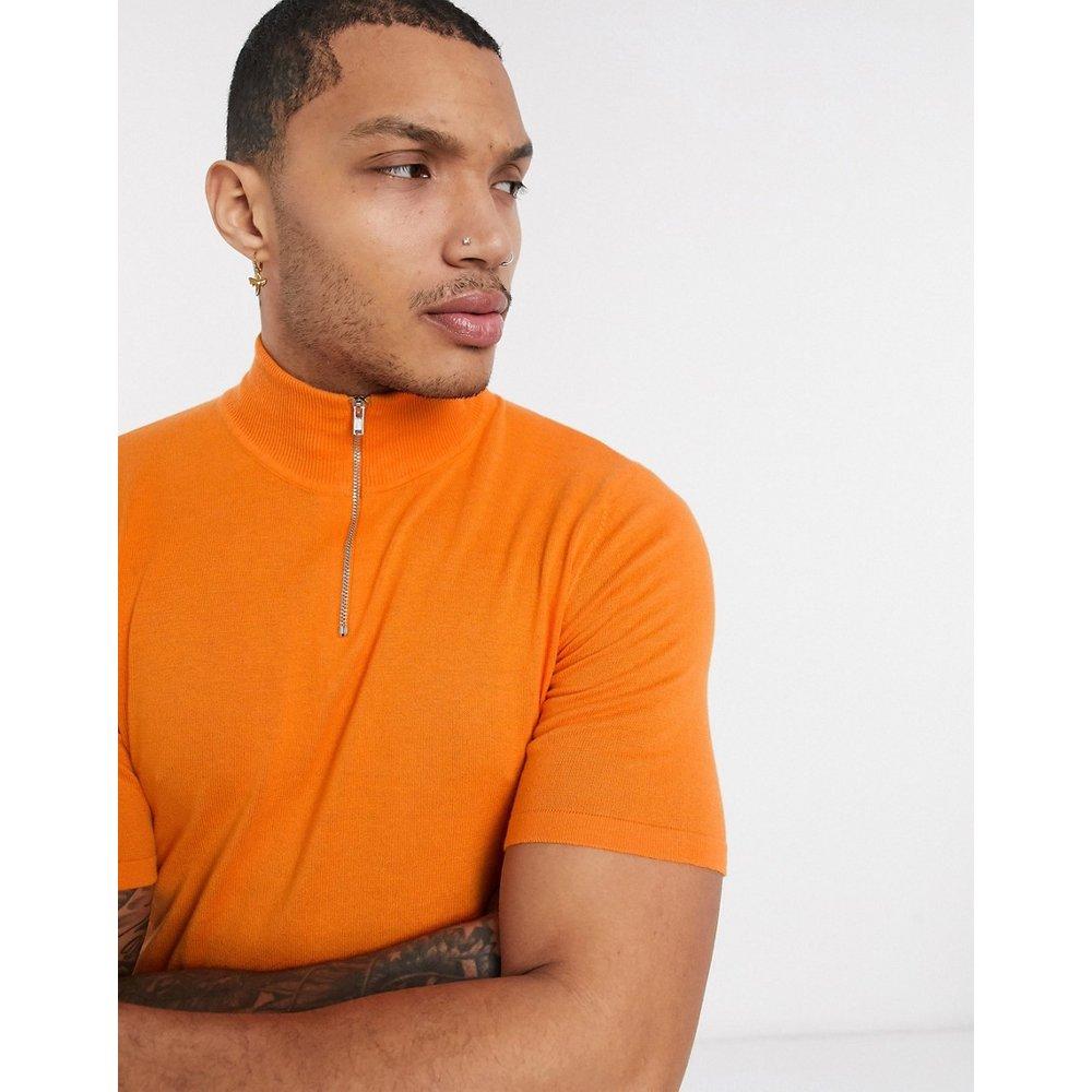 T-shirt en maille à col zippé - ASOS DESIGN - Modalova