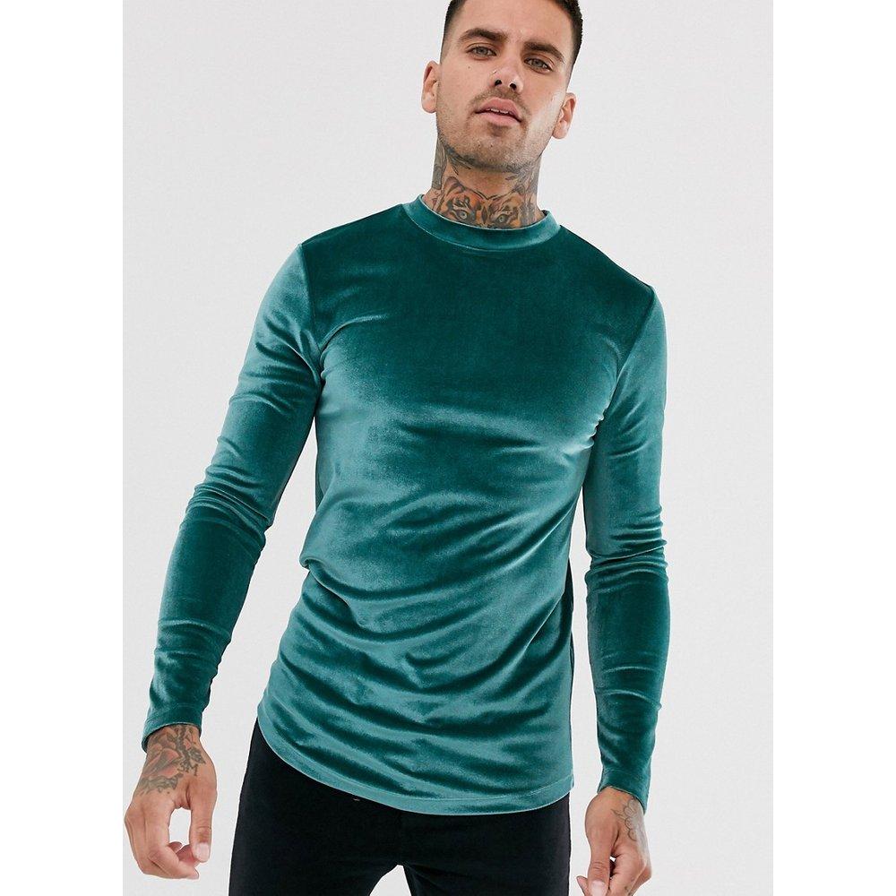 T-shirt long à manches longues en velours avec ourlet arrondi - Vert - ASOS DESIGN - Modalova