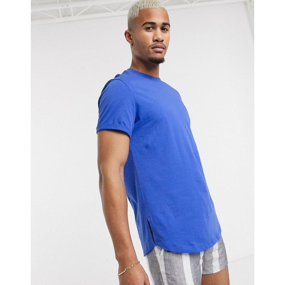 T-shirt long à manches retroussées et fente latérale - ASOS DESIGN - Modalova