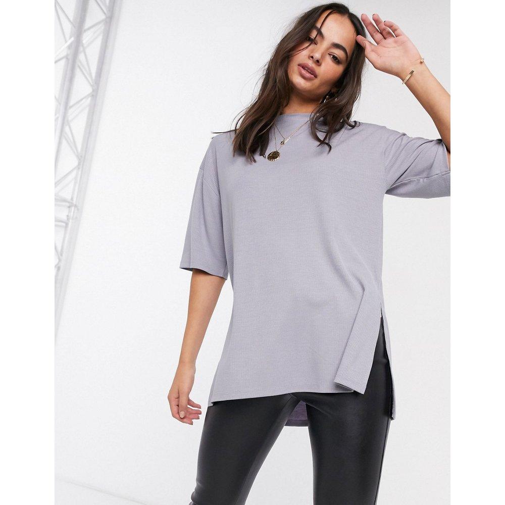 T-shirt long côtelé décontracté à fentes latérales - glacé - ASOS DESIGN - Modalova