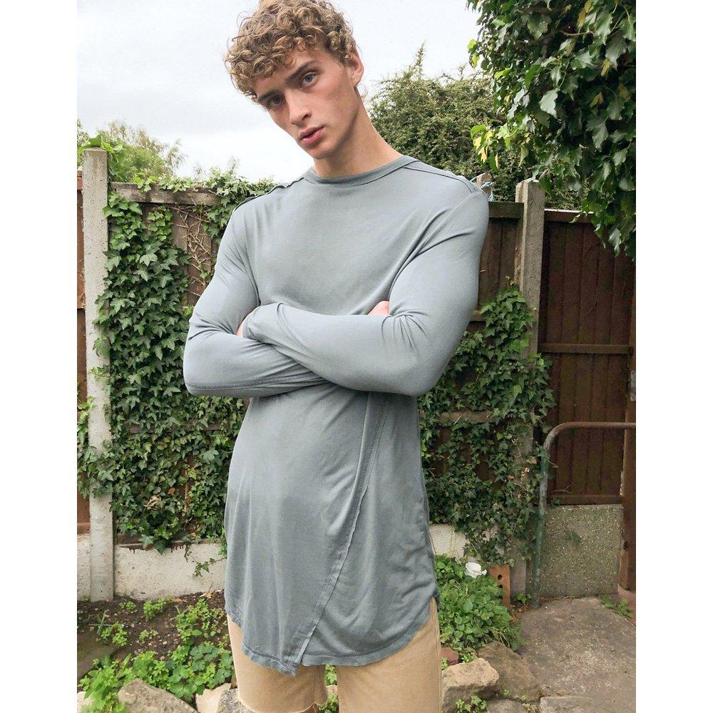 - T-shirt long décontracté à manches longues et coutures apparentes - ASOS DESIGN - Modalova