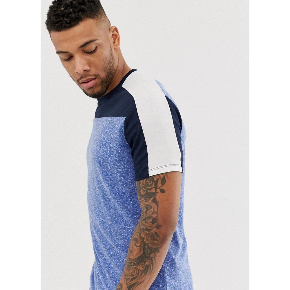 T-shirt long décontracté en tissu Interest à ourlet arrondi avec empiècements contrastants aux épaules et sur le corps - ASOS DESIGN - Modalova