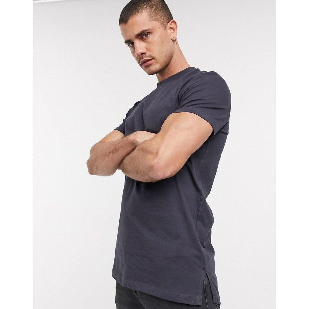 T-shirt long fendu sur les côtés - Noir délavé - ASOS DESIGN - Modalova