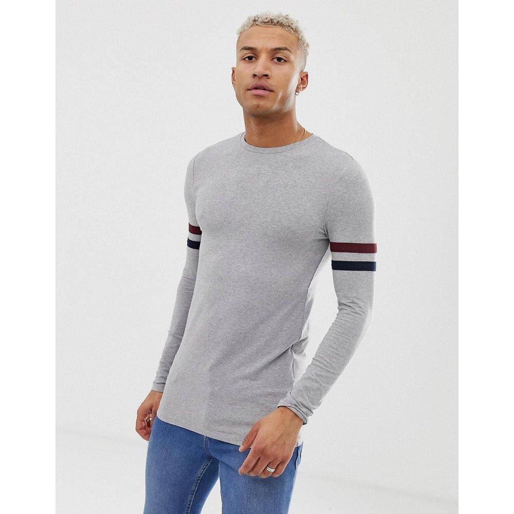 T-shirt long moulant stretch à manches longues contrastantes rayées - chiné - ASOS DESIGN - Modalova