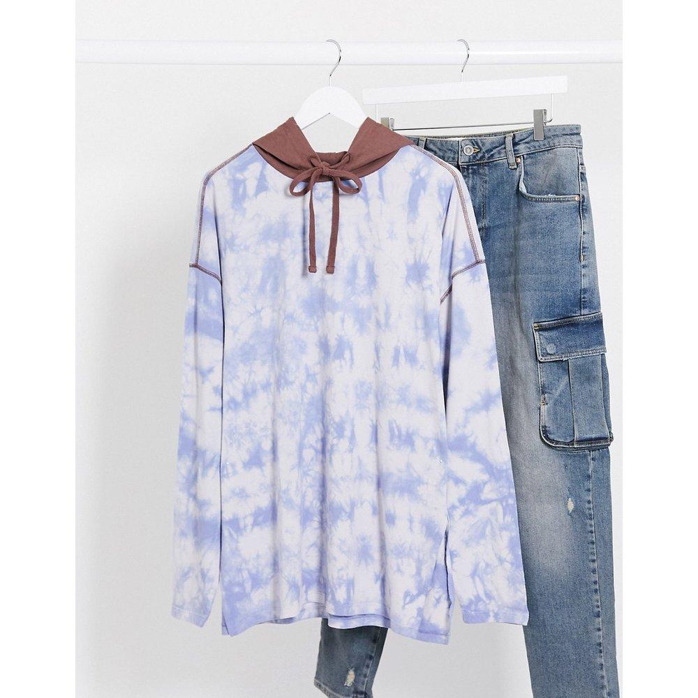 T-shirt long oversize à capuche et manches longues -Délavage tie-dye - ASOS DESIGN - Modalova