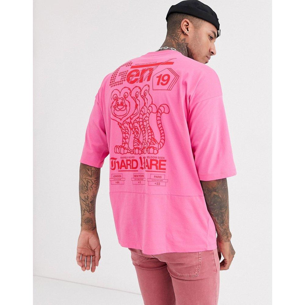 T-shirt long oversize à surpiqûres avec imprimé texte dans le dos - ASOS DESIGN - Modalova