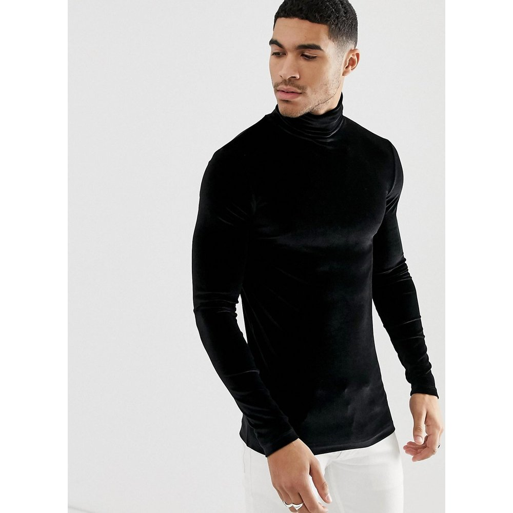 T-shirt moulant à manches longues en velours stretch à col roulé - ASOS DESIGN - Modalova