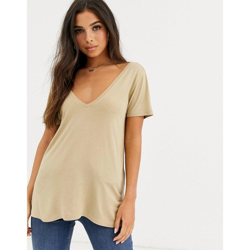 T-shirt oversize à col V devant et dans le dos - Taupe - ASOS DESIGN - Modalova