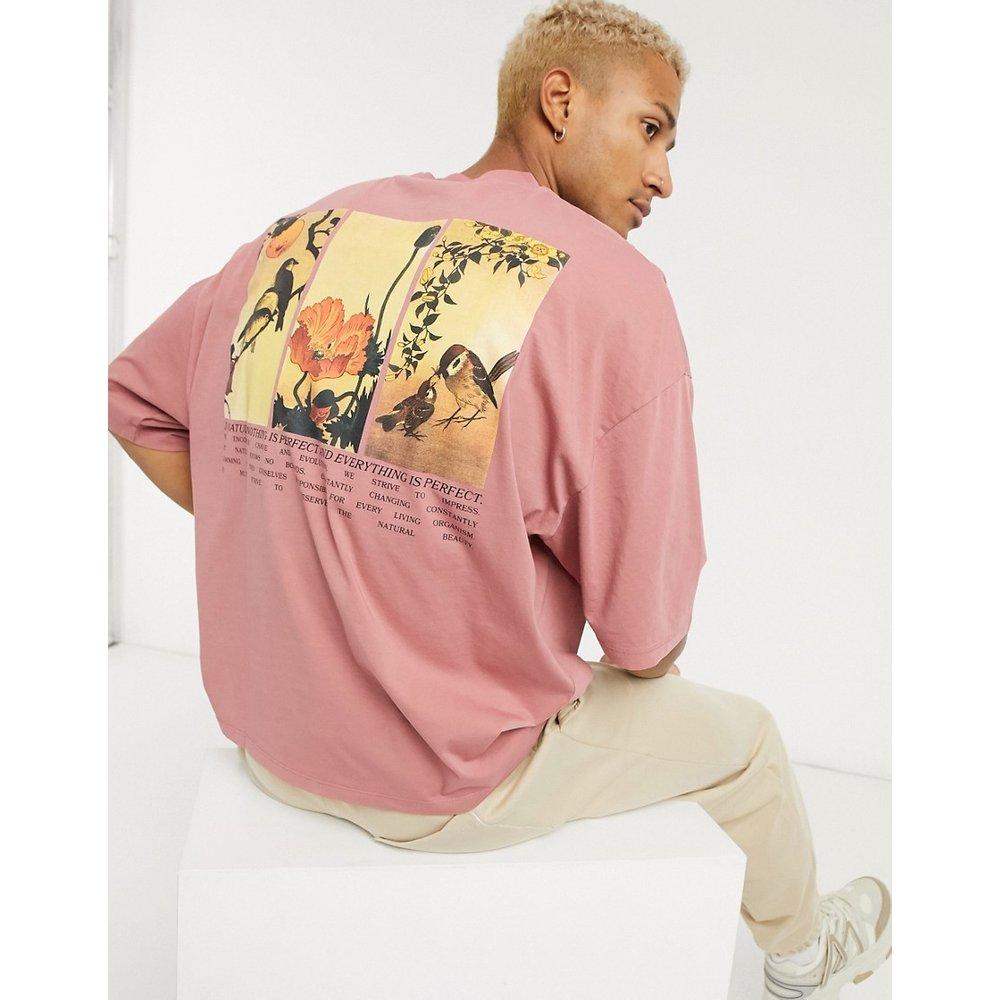 T-shirt oversize avec imprimé artistique encadré - Beige délavé à l'acide - ASOS DESIGN - Modalova