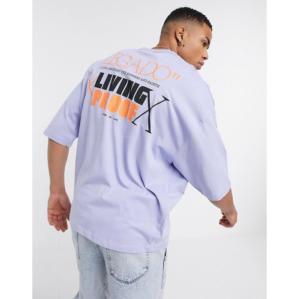 T-shirt oversize avec imprimé au dos et petit imprimé sur la poitrine - Lilas - ASOS DESIGN - Modalova