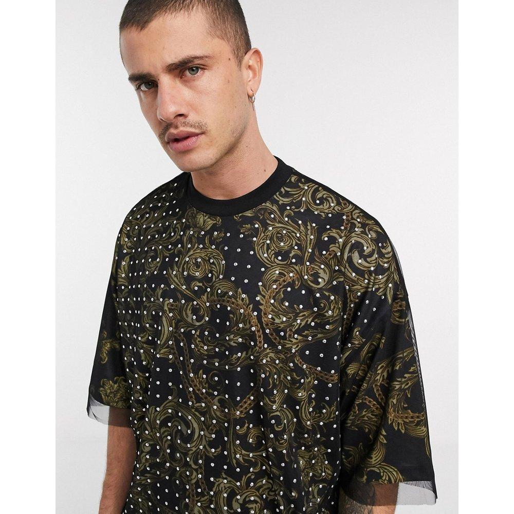 T-shirt oversize double épaisseur avec imprimé cachemire et tulle orné - ASOS DESIGN - Modalova