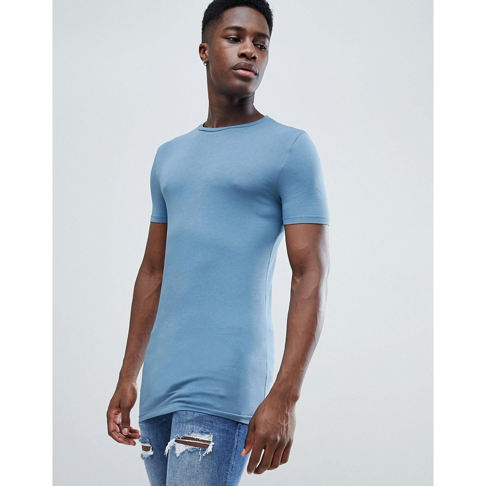 T-shirt ras de cou long moulant - Bleu - ASOS DESIGN - Modalova