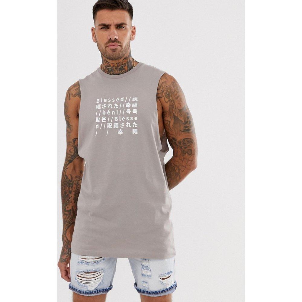 T-shirt sans manches décontracté avec texte imprimé sur le devant - ASOS DESIGN - Modalova