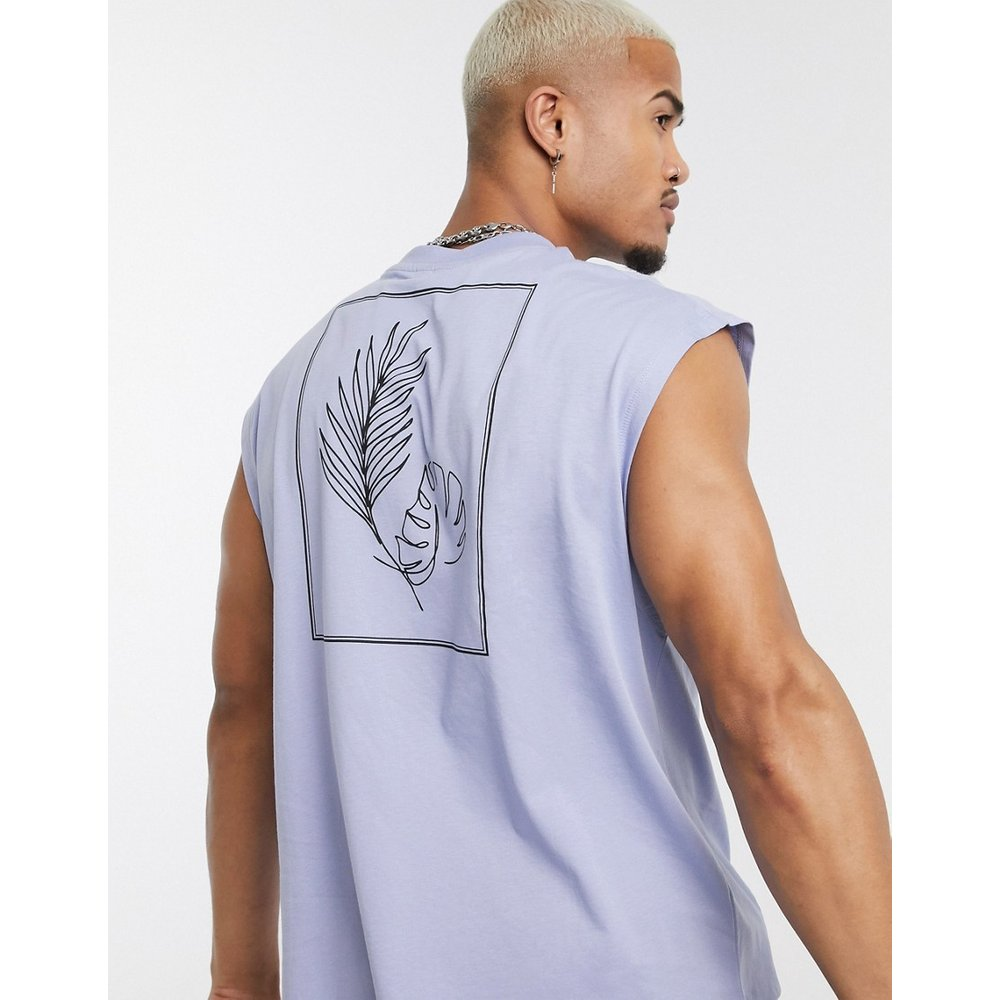 T-shirt sans manches oversize imprimé - Lilas - ASOS DESIGN - Modalova