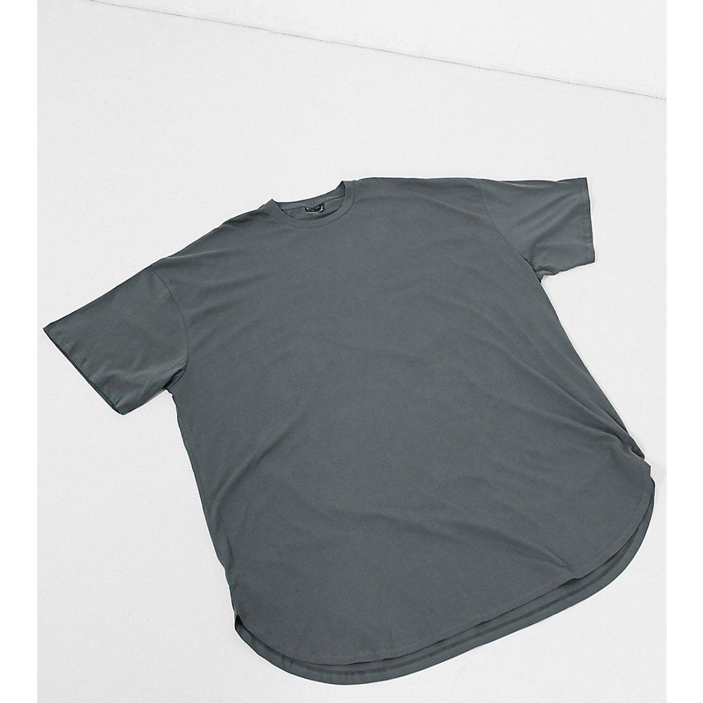 T-shirt super long ultra oversizeà ourlet arrondi - Noir délavé - ASOS DESIGN - Modalova