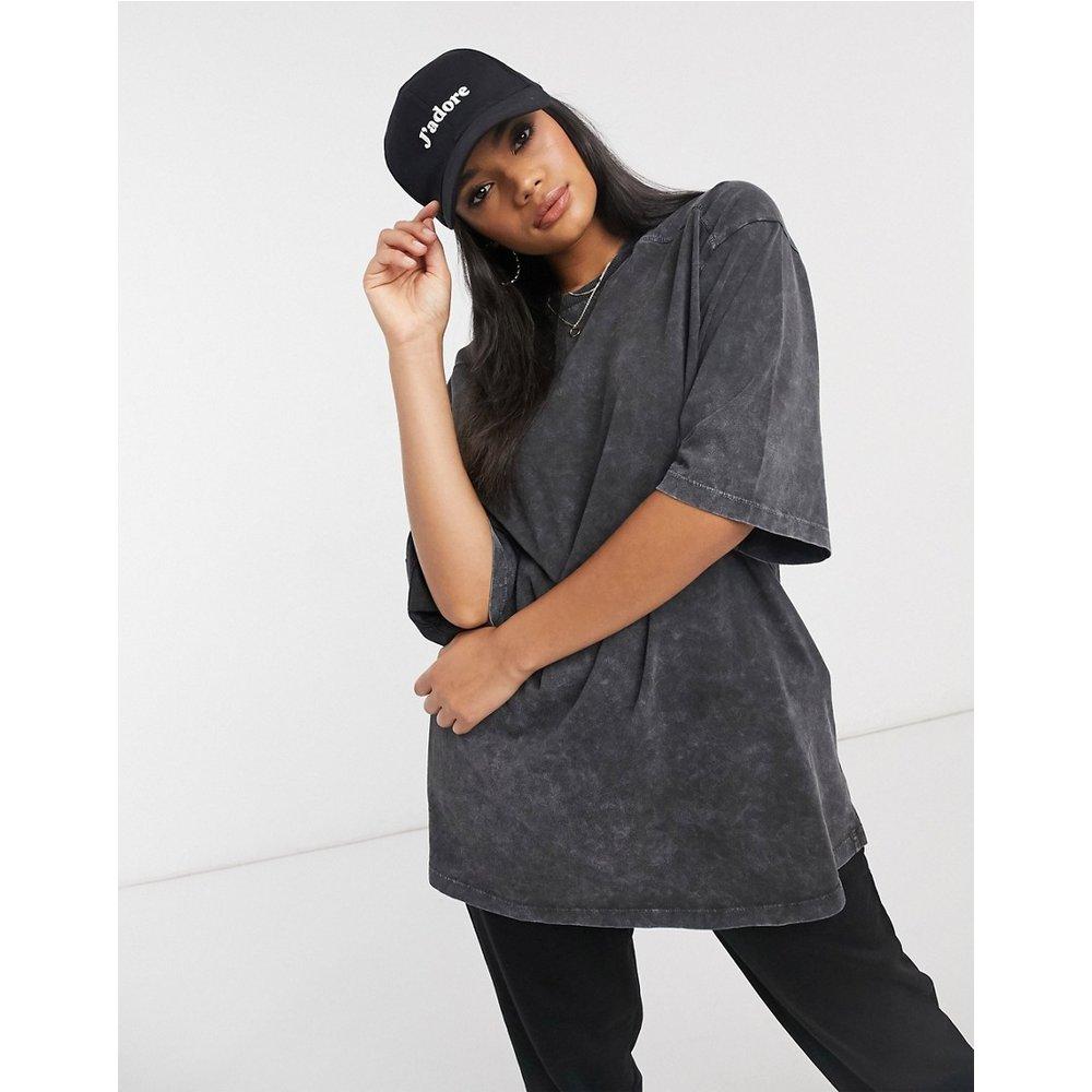 T-shirt super oversize à coutures apparentes -Anthracite délavé - ASOS DESIGN - Modalova