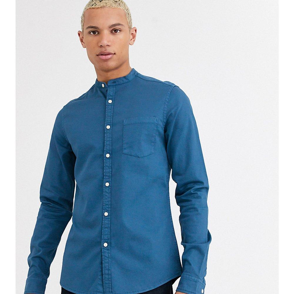 Tall - Chemise stretch ajustée en jean avec col grand-père - ASOS DESIGN - Modalova