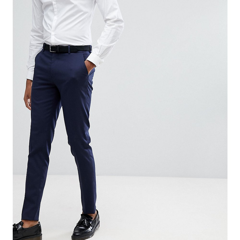 Tall - Pantalon habillé ajusté - Bleu marine - ASOS DESIGN - Modalova