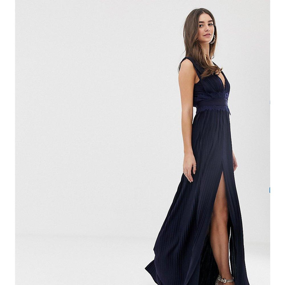 ASOS DESIGN Tall Premium - Robe longue plissée avec empiècement en dentelle - ASOS Tall - Modalova