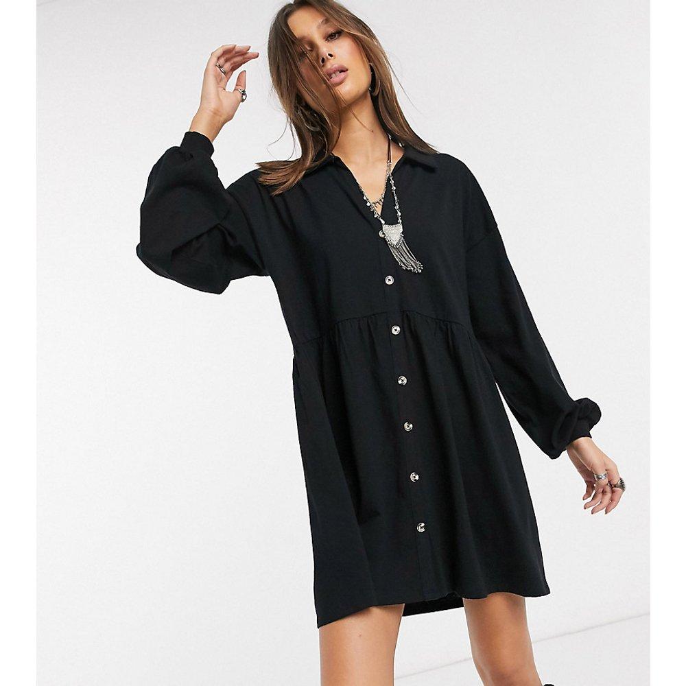 ASOS DESIGN Tall - Robe chemise babydoll oversize en coton flammé avec boutons en corne - ASOS Tall - Modalova