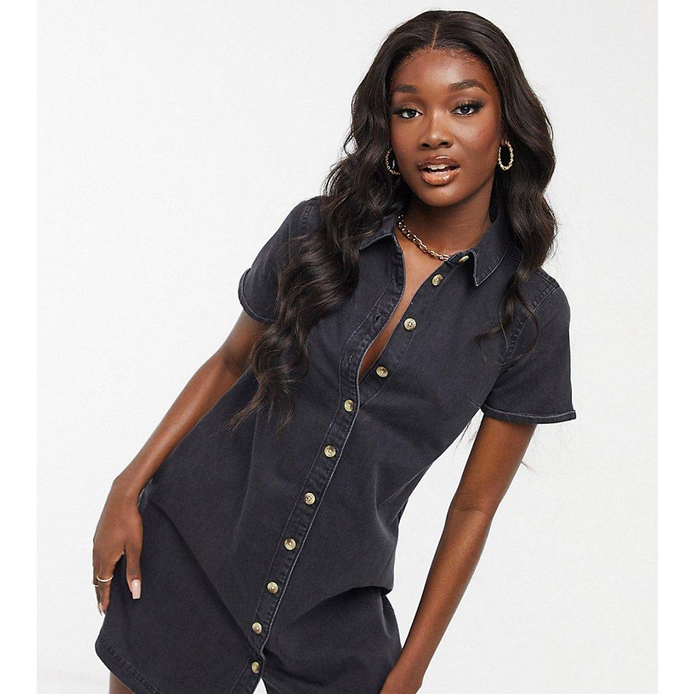 ASOS DESIGN Tall -Robe chemise froncée en jean souple - délavé - ASOS Tall - Modalova
