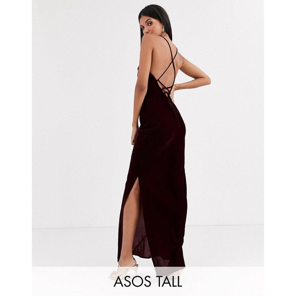 ASOS DESIGN Tall - Robe nuisette longue style caraco en velours avec laçage dans le dos - ASOS Tall - Modalova