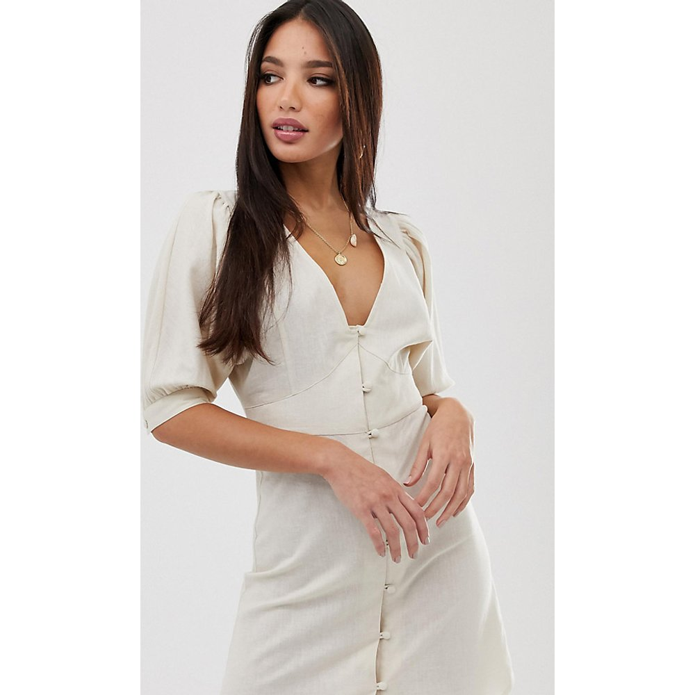 ASOS DESIGN Tall - Robe patineuse courte boutonnée casual à manches bouffantes - ASOS Tall - Modalova