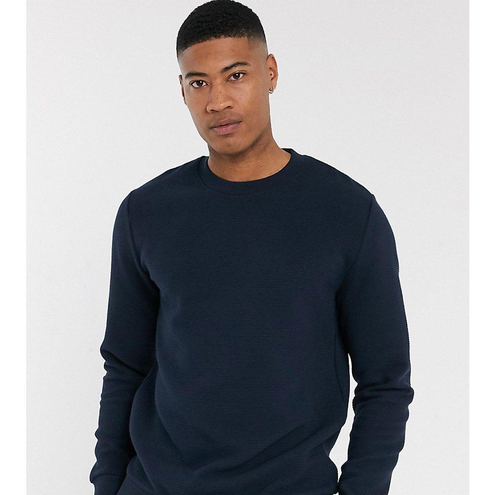 Tall - Sweat-shirt côtelé - Bleu marine - ASOS DESIGN - Modalova
